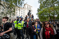 London, 09/05/2015. Today, more than 2,000 people held a demonstration in central London to protest against the re-election of David Cameron and the Conservative Party to lead the next British Government and their austerity policies. The demonstration was patrolled by the MET Police, City Police and British Transport Police and 17 arrests were made.<br />   <br /> For more information please click here: http://on.fb.me/1IrKght