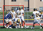 Tustin, CA 04/23/16 - Austin Mann (Foothill #0), Tony Crognale (Foothill #18), Tanner Boston (Foothill #22), Connor Raffety {La Costa Canyon #4), Jared Copeland (Foothill #24) in action during the non-conference CIF varsity lacrosse game between La Costa Canyon and Foothill at Tustin Union High School.  Foothill defeated La Costa Canyon 10-9 in sudden death overtime.