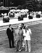 President François Mitterrand of France, left, and Prime Minister Pierre Elliott Trudeau, right, meet as part of the Ottawa Summit at the Château Montebello in Quebec, Canada on July 20, 1981.  European leaders are complaining about high US interest rates and have suggested the US stall the delivery of F-16 jets to Israel because of the violence in the Middle East.<br /> Credit: Arnie Sachs / CNP