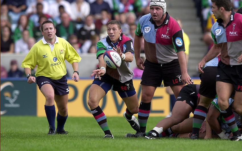 Photo. Richard Lane.NEC Harlequins v London Irish. Zurich Premiership. 21-09-2002.Scott Bemand