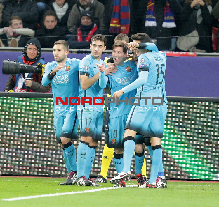 Championsleague , Bayer 04 Leverkusen vs. FC Barcelona<br /> Lionel Andr&radic;&copy;s Messi (Barcelona) freut sich &radic;ľber sein Tor zum 1:0<br /> <br /> Foto &not;&copy; nordphoto /  Bratic *** Local Caption ***