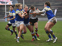 Picture by Anna Gowthorpe/SWpix.com - 15/04/2018 - Rugby League - Womens Super League - Bradford Bulls v Leeds Rhinos - Coral Windows Stadium, Bradford, England - Bradford Bulls' Stacey Greenwood is held by the Leeds Rhinos defence