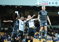 Lincoln City's Harry Anderson flicks the ball on over the Port Vale defence<br /> <br /> Photographer Andrew Vaughan/CameraSport<br /> <br /> The EFL Sky Bet League Two - Port Vale v Lincoln City - Saturday 13th October 2018 - Vale Park - Burslem<br /> <br /> World Copyright © 2018 CameraSport. All rights reserved. 43 Linden Ave. Countesthorpe. Leicester. England. LE8 5PG - Tel: +44 (0) 116 277 4147 - admin@camerasport.com - www.camerasport.com