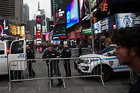 NEW YORK, NY - JANUARY 5: New York police officers watch Times Square and other places in the city on January 5, 2020 in New York City. The New York police will take special measures to protect the city against possible reprisals after the deadly US air strike in Iraq where Iran's top general Qasem Soleimani died. (Photo by Pablo Monsalve / VIEWpress)