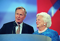 Former United States President George H.W. Bush, left, and former first lady Barbara Bush, right, on the podium  of the 1996 Republican National Convention at the San Diego Convention Center in San Diego, California on August 12, 1996.  <br /> CAP/MPI/RS<br /> &copy;RS/MPI/Capital Pictures