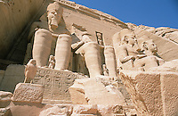 The Temple of Ramses II at Abu Simbel, built by that most powerful of the Pharoahs between 1272 and 1242 BC, is fronted by four massive colossi of himself. When Lake Nasser was formed by the building of the Aswan Dam, this temple would have been flooded in its original location and so it was cut into 2,000 huge blocks and reconstructed at a spot 656 feet inland and 212 feet higher than the original site.