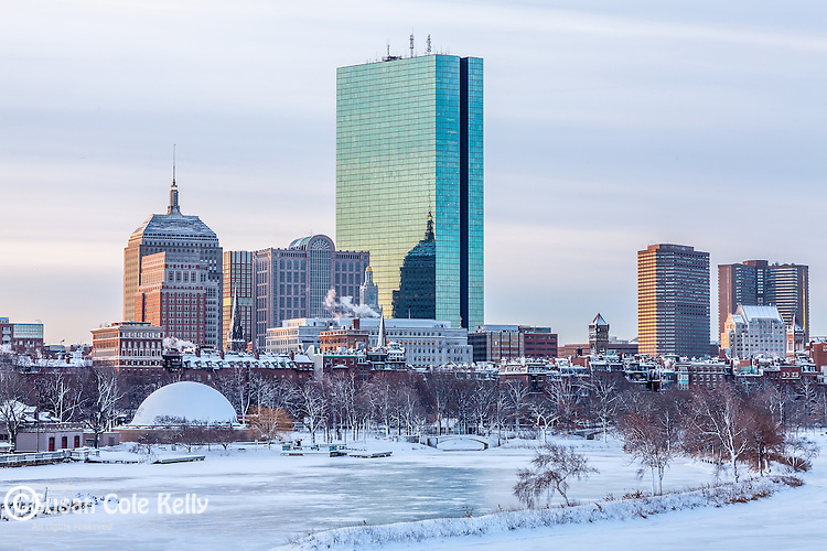A winter morning on the Charles River in Boston, MA, USA