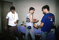 Beastie Boys trash a dressing room backstage at The Rosemont Horizion in Rosemiont, Illinois. <br /> July 31,1987  <br /> CAP/MPI/GA<br /> ©GA/MPI/Capital Pictures