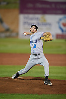 Hudson Valley Renegades relief pitcher Tanner Dodson (10) delivers a pitch during a game against the Auburn Doubledays on September 5, 2018 at Falcon Park in Auburn, New York.  Hudson Valley defeated Auburn 11-5.  (Mike Janes/Four Seam Images)