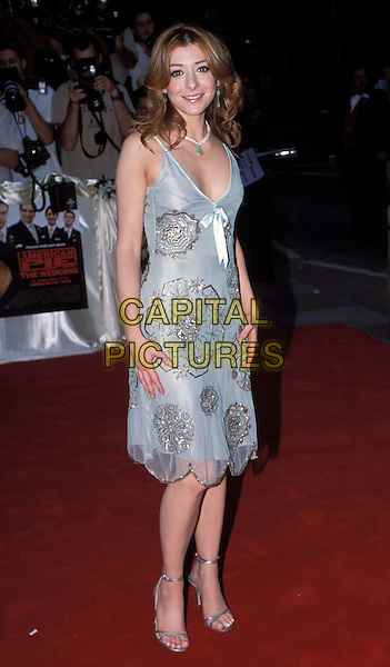 ALYSON HANNIGAN .American Wedding Film premiere at Odeon, Covent Garden and Afterparty, Cafe De Paris.www.capitalpictures.com.sales@capitalpictures.com.© Capital Pictures.gold floral detail green chiffon dress, ribbon detail, feminine. ..full length, full-length