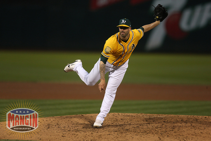 OAKLAND, CA - SEPTEMBER 22:  Mike Fiers #50 of the Oakland Athletics pitches against the Minnesota Twins during the game at the Oakland Coliseum on Saturday, September 22, 2018 in Oakland, California. (Photo by Brad Mangin)