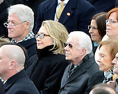Former United States President Bill Clinton, U,S. secretary of Stqate Hillary Rodham Clinton, former U.S. President Jimmy Carter, and former first lady Rosalyn Carter listen as U.S. President Barack Obama takes the oath of office during the public swearing-in ceremony at the U.S. Capitol in Washington, D.C. on Monday, January 21, 2013..Credit: Ron Sachs / CNP.(RESTRICTION: NO New York or New Jersey Newspapers or newspapers within a 75 mile radius of New York City)