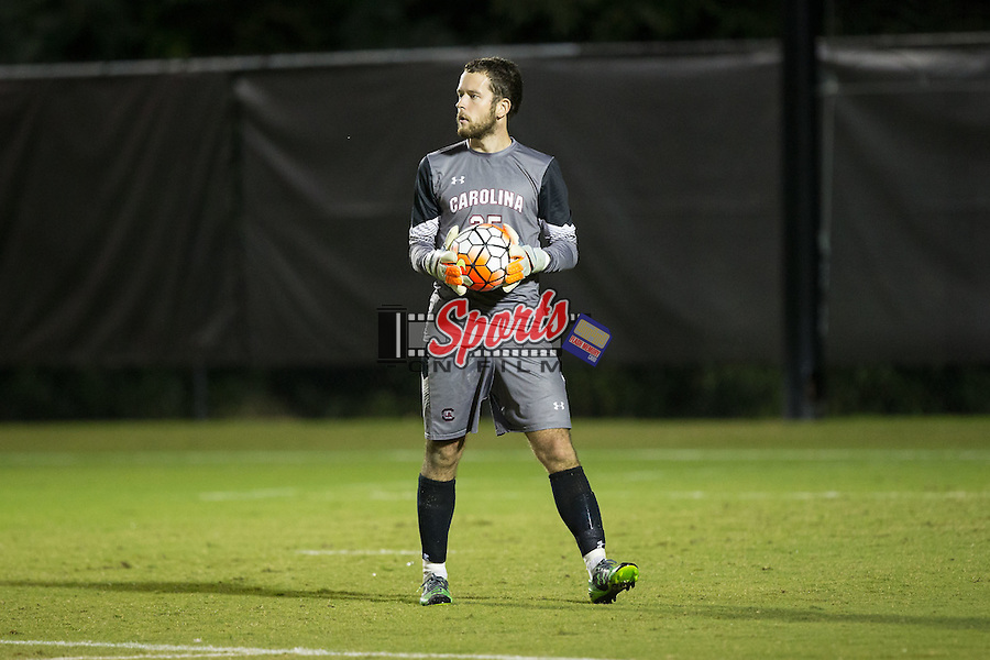 William Pyle (25) of the South Carolina Gamecocks controls the ball during first half action against the Wake Forest Demon Deacons at Spry Soccer Stadium on October 6, 2015 in Winston-Salem, North Carolina.  The Demon Deacons defeated the Gamecocks 2-0.  (Brian Westerholt/Sports On Film)