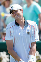 March 6, 2016: John Isner of USA celebrates winning the first reverse single match against Bernard Tomic of Australia at the BNP Paribas Davis Cup World Group first round tie between Australia and USA at Kooyong tennis club in Melbourne, Australia. USA won in 4 sets. Photo Sydney Low