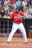 Fernando Martinez (9) of the Oklahoma City RedHawks at bat during the Pacific Coast League game against the Round Rock Express at Chickashaw Bricktown Ballpark on June 14, 2013 in Oklahoma City ,Oklahoma.  (William Purnell/Four Seam Images)