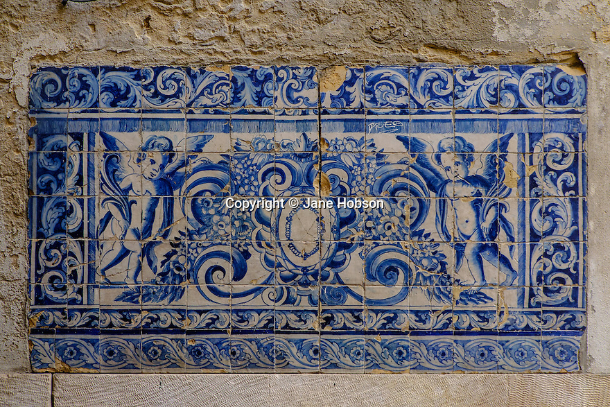 Lisbon, Portugal. 21.03.2015. Typical hand-painted tiles in the Alfama district of Lisbon. © Jane Hobson.