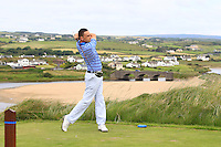 Ian O'Rourke (The Royal Dublin) on the 9th tee during Round 3 of The South of Ireland in Lahinch Golf Club on Monday 28th July 2014.<br /> Picture:  Thos Caffrey / www.golffile.ie