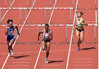 Daniel Williams (Jamaica) wins the women's 100m hurdles 2nd heat during the IAAF Diamond League Athletics Müller Grand Prix Birmingham at Alexander Stadium, Walsall Road, Birmingham on 18 August 2019. Photo by Alan  Stanford.