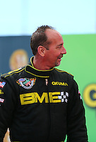 Mar 30, 2014; Las Vegas, NV, USA; NHRA top fuel driver Troy Buff during the Summitracing.com Nationals at The Strip at Las Vegas Motor Speedway. Mandatory Credit: Mark J. Rebilas-