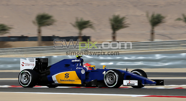 PICTURE BY MARK GREEN/SWPIX.COM - Formula 1, Bahrain International Circuit, 17-19th April 2015 <br /> The Sauber of Felipe Nasr in 3rd Practice with palm trees in the background