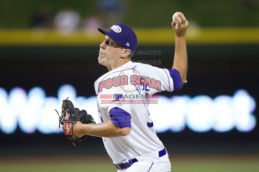 Winston-Salem Dash relief pitcher Kyle Hansen (34) in action against the Carolina Mudcats at BB&T Ballpark on June 6, 2014 in Winston-Salem, North Carolina.  The Mudcats defeated the Dash 3-1.  (Brian Westerholt/Four Seam Images)
