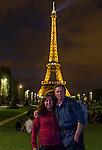 John and Beth at the Eiffel Tower at night, Paris, France.