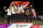 (L-R) Hong Kong team group (HKG), China team group (CHN), Malaysia team group (MAS), <br /> AUGUST 31, 2018 - Sailing : Mixed RS-One Victory ceremony at Indonesia National Sailing Center during the 2018 Jakarta Palembang Asian Games in Jakarta, Indonesia. <br /> (Photo by MATSUO.K/AFLO SPORT)
