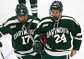 Jesse Beamish (Dartmouth - 17), Andy Simpson (Dartmouth - 24) - The Harvard University Crimson tied the visiting Dartmouth College Big Green 3-3 in both team's first game of the season on Saturday, November 1, 2014, at Bright-Landry Hockey Center in Cambridge, Massachusets.