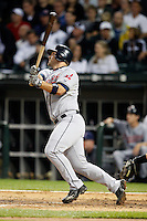 August 7, 2009:  Catcher Kelly Shoppach (10) of the Cleveland Indians hits a home run during a game vs. the Chicago White Sox at U.S. Cellular Field in Chicago, IL.  The Indians defeated the White Sox 6-2.  Photo By Mike Janes/Four Seam Images