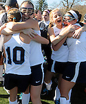(Worcester Ma 111613) Walpole High School girls field hockey team celebrates after winning the MIAA Division 1 Field Hockey Championship against Longmeadow High School, Saturday, November 16, 2013, at Worcester Polytechnic Institute in Worcester.  (Jim Michaud Photo)  for Sunday