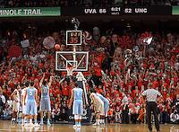North Carolina forward Brice Johnson (11) shoots a free throw during an NCAA basketball game Monday Jan. 20, 2014 in Charlottesville, VA. Virginia defeated North Carolina 76-61.