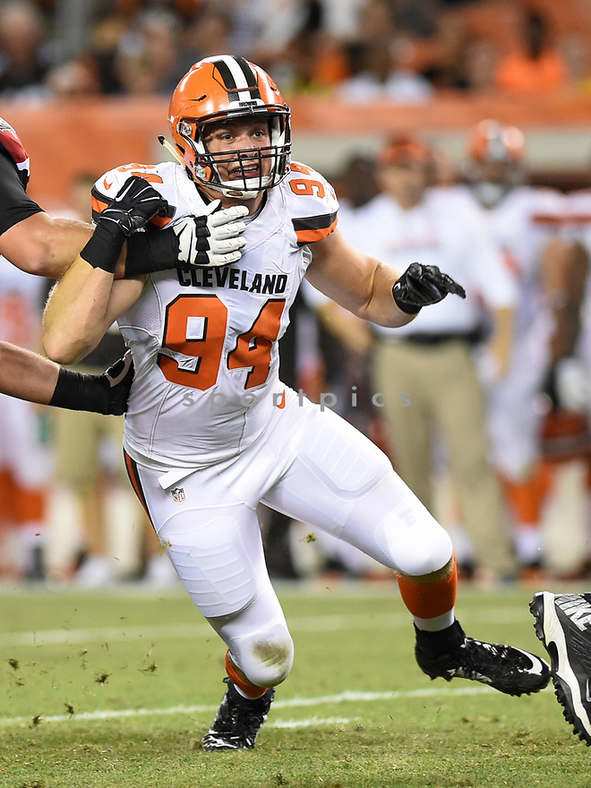 CLEVELAND, OH - AUGUST 18, 2016: Defensive lineman Carl Nassib #94 of the Cleveland Browns rushes the quarterback in the fourth quarter of a preseason game on August 18, 2016 against the Atlanta Falcons at FirstEnergy Stadium in Cleveland, Ohio. Atlanta won 24-13. (Photo by: 2016 Nick Cammett/Diamond Images) *** Local Caption *** Carl Nassib