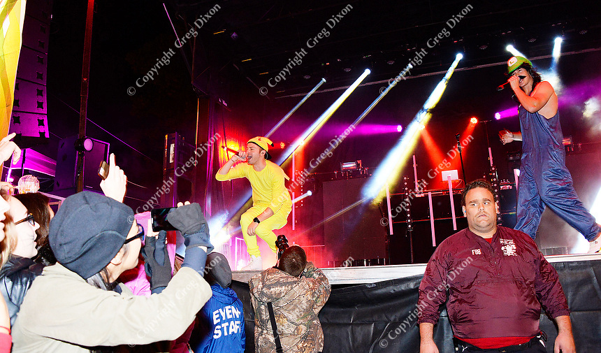 Rob Resnick (L) and Cal Shapiro of Timeflies entertain the Freak Fest crowd Saturday on the Mountain Dew / Madison State Capitol Stage during Freakfest 2015 on State Street in Madison, Wisconsin