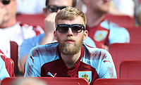 Burnley fan<br /> <br /> Photographer Rob Newell/CameraSport<br /> <br /> The Premier League - Arsenal v Burnley - Sunday 6th May 2018 - The Emirates - London<br /> <br /> World Copyright &copy; 2018 CameraSport. All rights reserved. 43 Linden Ave. Countesthorpe. Leicester. England. LE8 5PG - Tel: +44 (0) 116 277 4147 - admin@camerasport.com - www.camerasport.com