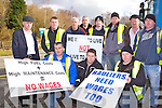 Road Hauliers who have started a picket line outside the John A Wood Killarney quarry on Monday front row l-r: Aidan Casey, Paul regan and Paudie Foran. Back row: Michael Healy Rae, Paul Clifford, Dermot O'Connor, Padraig Allen, David Casey, Gary reidy, Maurice O'Donoghue, and Alan Casey