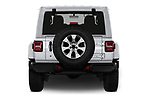 Straight rear view of a 2018 Jeep Wrangler Unlimited Sahara 5 Door SUV stock images