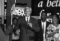 Former South African president Nelson Mandela dances at a victory party held at Carlton Hotel on May 2, 1994 in Johannesburg, South Africa. The historic democratic election was held on April 27, 1994 and Mr. Mandela and his party, the African National Congress, won. Mr. Mandela became the first black democratic elected president in South Africa. He retired from office after one term in June 1999.