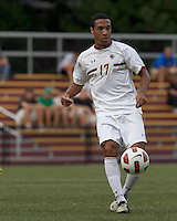 Boston College forward Charlie Rugg (17) passes the ball. Boston College defeated Quinnipiac, 5-0, at Newton Soccer Field, September 1, 2011.