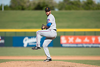 Surprise Saguaros relief pitcher Joe Kuzia (52), of the Texas Rangers organization, delivers a pitch during an Arizona Fall League game against the Mesa Solar Sox at Sloan Park on November 1, 2018 in Mesa, Arizona. Surprise defeated Mesa 5-4 . (Zachary Lucy/Four Seam Images)