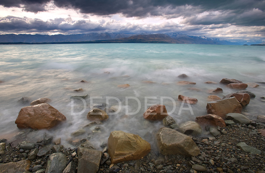 The glacier fed Lake Pukaki and the Southern Alps in New Zealand.