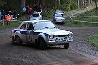Mark Holmes / Tony Lindsay at Junction 6, on Special Stage 1 Craigvinean in the Colin McRae Forest Stages Rally 2012, Round 8 of the RAC MSA Scotish Rally Championship which was organised by Coltness Car Club and based in Aberfeldy on 5.10.12.