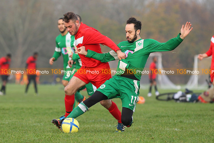 Boston Celtics (green/white) vs Shakespeare - Hackney & Leyton Sunday League Dickie Davies Cup Football at South Marsh, Hackney Marshes, London - 30/11/14 - MANDATORY CREDIT: Gavin Ellis/TGSPHOTO - Self billing applies where appropriate - 0845 094 6026 - contact@tgsphoto.co.uk - NO UNPAID USE
