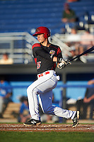 Batavia Muckdogs designated hitter Branden Berry (35) at bat during a game against the Hudson Valley Renegades on August 2, 2016 at Dwyer Stadium in Batavia, New York.  Batavia defeated Hudson Valley 2-1. (Mike Janes/Four Seam Images)