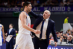 Real Madrid's coach Pablo Laso and Felipe Reyes during Turkish Airlines Euroleague match between Real Madrid and Anadolu Efes at Wizink Center in Madrid, April 07, 2017. Spain.<br /> (ALTERPHOTOS/BorjaB.Hojas)