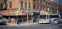 Street corner in the Bedford-Stuyvesant neighborhood of Brooklyn in New York on Saturday, April 4, 2014. (© Richard B. Levine)