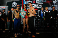 Puerto Rico boxer Miguel Cotto (C-L ) and Australia boxer Daniel Geale (C-R ) pose for pictures during an official weigh-in ahead of his fight against  at Barclays Center in New York.  06/05/2015. Eduardo MunozAlvarez/VIEWpress