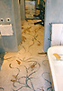 Custom Roman Africa shower in hand chopped marble mosaic tesserae