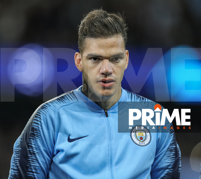 Goalkeeper Ederson Santana EDERSON of Manchester City during the UEFA Champions League match between Manchester City and Olympique Lyonnais at the Etihad Stadium, Manchester, England on 19 September 2018. Photo by David Horn / PRiME Media Images.