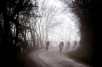 race leaders Nico Denz (DEU/AG2R-La Mondiale), Leo Vincent (FRA/Groupama-FDJ), Diego Rosa (ITA/Sky) and Alexandre Geniez (FRA/AG2R-La Mondiale) on the white dust roads of Tuscany<br /> <br /> 13th Strade Bianche 2019 (1.UWT)<br /> One day race from Siena to Siena (184km)<br /> <br /> ©kramon