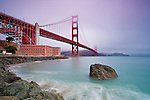 A peaceful and tranquil scene below the Golden Gate Bridge in San Francisco at Fort Point